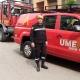Enrique Bojó Benet posa delante de uno de los vehículos del operativo de la UME que está dirigiendo tras el 14 de marzo.